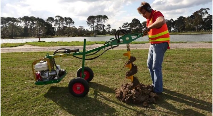 how to use a one-man post hole auger